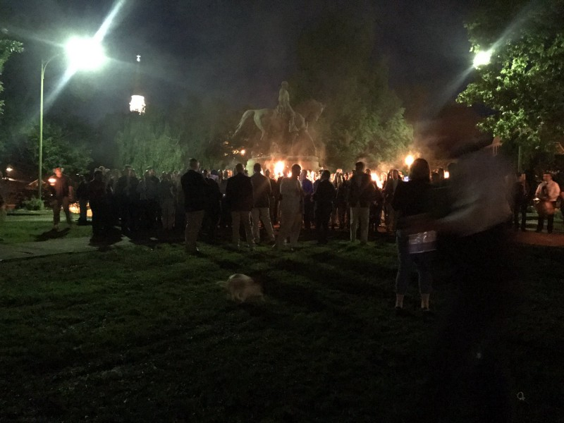 Protesters with torches gather around Confederate monument in Virginia