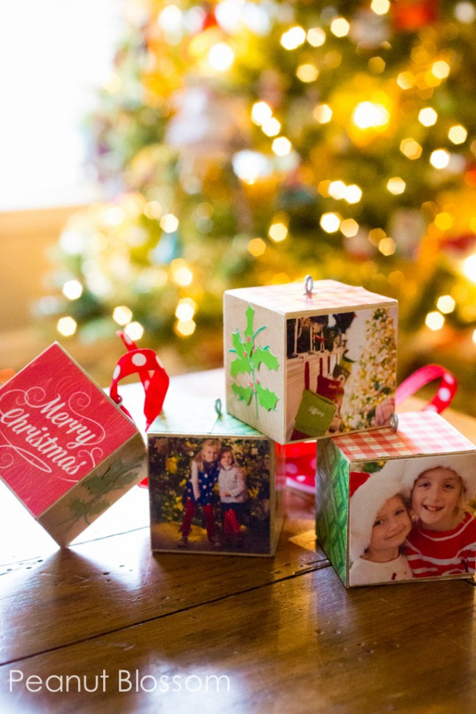 fun and easy DIY photo christmas ornament cubes