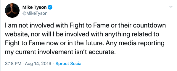 The post on Mike Tyson's Twitter through Sprout Social