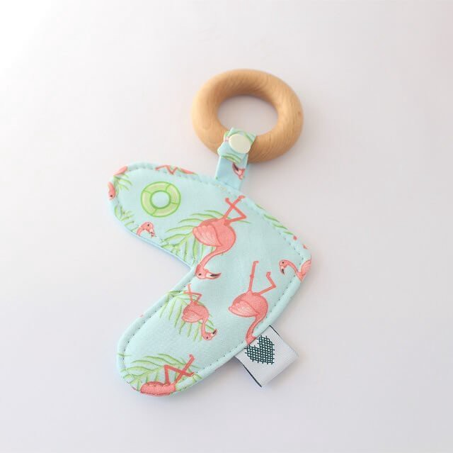 Flamingos print handmade teething toys in love heart style