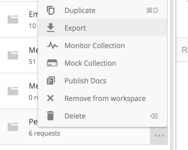 Open the Postman application, find your API and click Export.