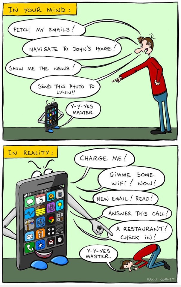 cartoons about who's in charge, you or your phone