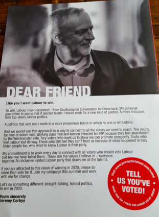 Image from leaflet posted to all Labour members during campaign.