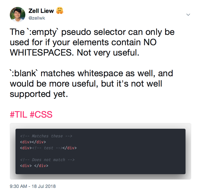 When to use the :empty and :blank CSS pseudo selectors