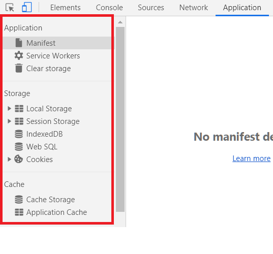 Application tab of developer tools stores information about local data, cookies and service workers