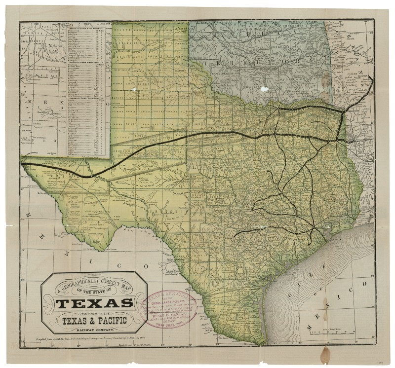 A Geographically Correct Map Of The State Of Texas 1876
