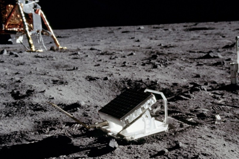 One of the reflectors the astronauts placed on the Moon