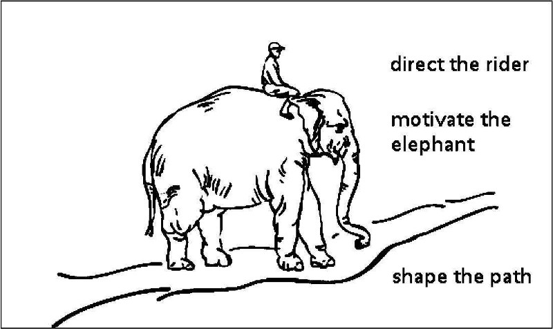 Change Management - Giving the Rider on top of an elephant a Compelling Destination Illustration