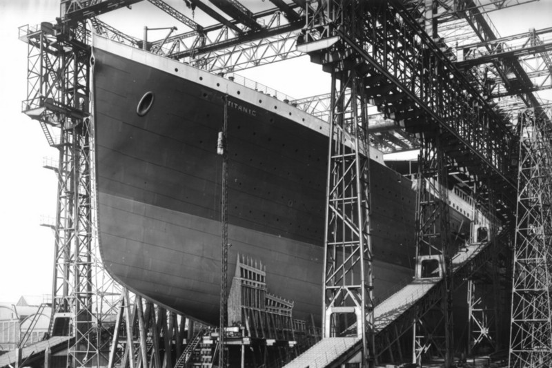 Titanic during its construction at the Harland and Wolff shipyard, Belfast
