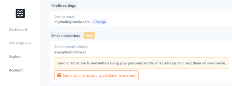 Where to find your Blindle email address for Substack newsletters.