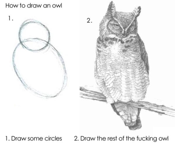 Change Management - How to draw an owl Illustration