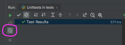Button that allows unit tests to be run on codechanges.