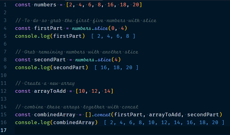 Adding elements to the middle of an array