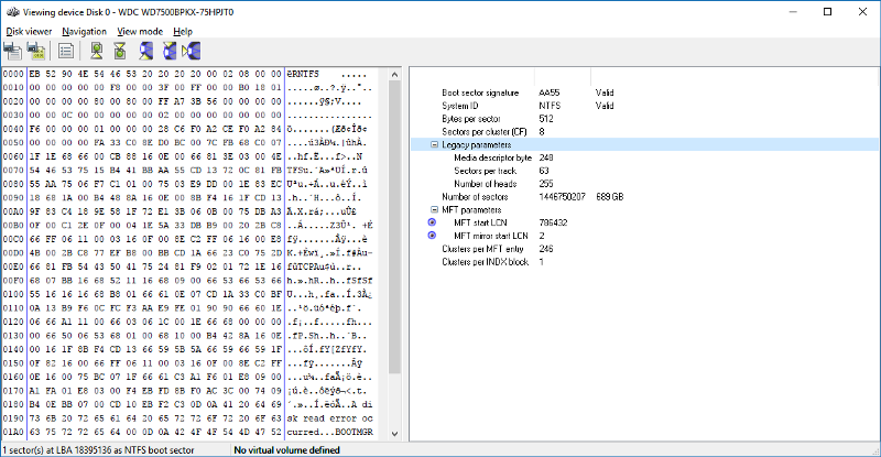 On the left 'the matrix', the RAW hex version of the boot record. On the right the decodeddata.