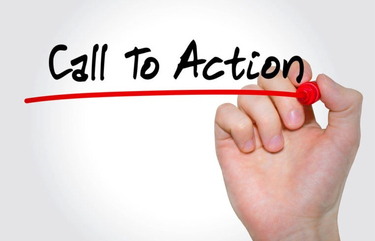 a white background with a hand writing on a clear board the words call to action in black and a red underline