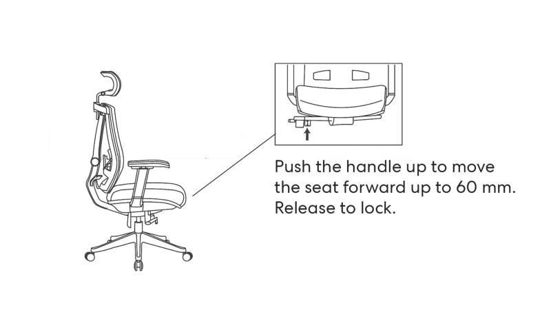 handle up to move the seat