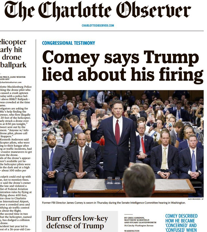 Comey's Testimony Was A Media Disaster For Trump. These