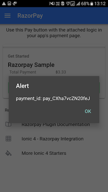 How to integrate RazorPay in Ionic 4 apps and PWA