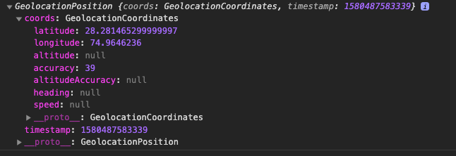 Geolocation API result in Capacitor