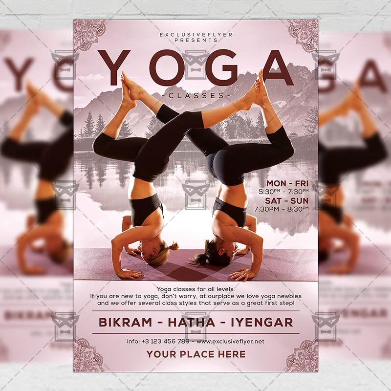 Exclusive Yoga Classes Sport A5 Flyer Template