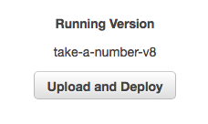 Close up view of the **Upload and Deploy** button.