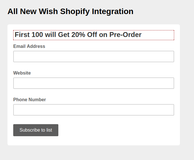 New Wish Shopify Integration