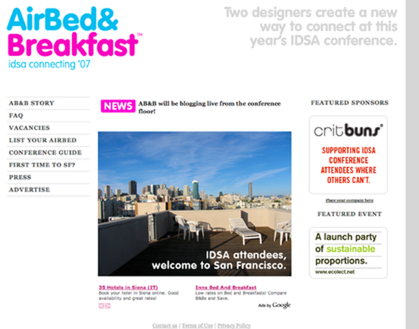 origina airbnb landing page in 2007 with picture of deck chairs on roof