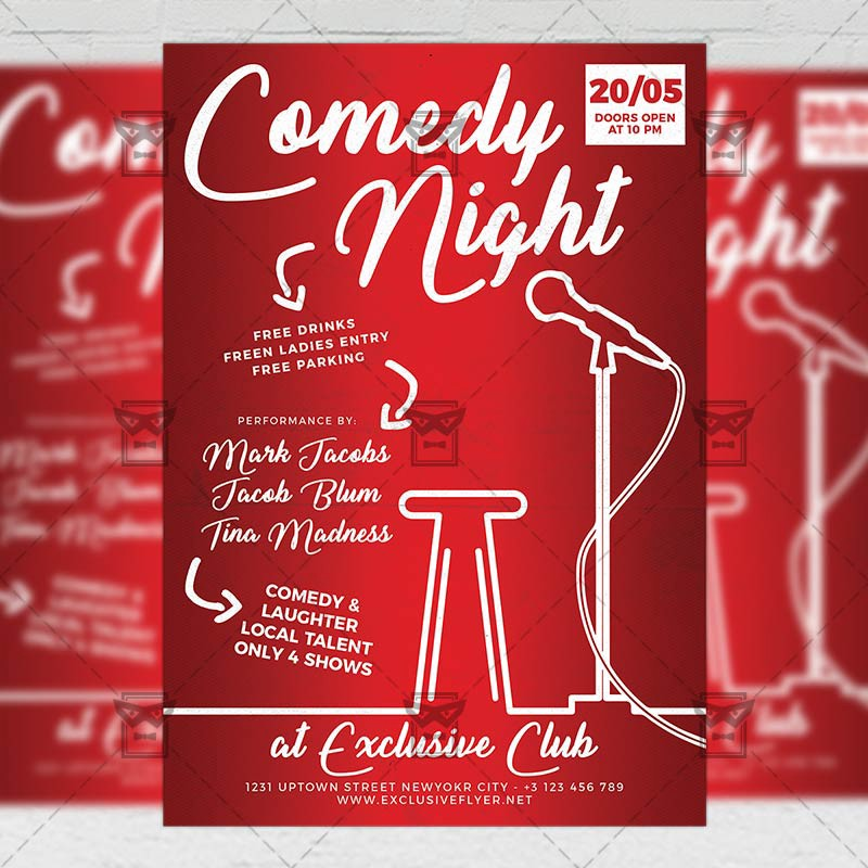 Comedy Night Show  Club A Flyer Template  Exclusive Flyer  Medium