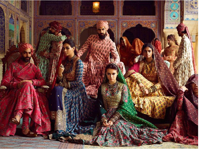 Men & Women dressed up in sabyasachi's block printed outfits