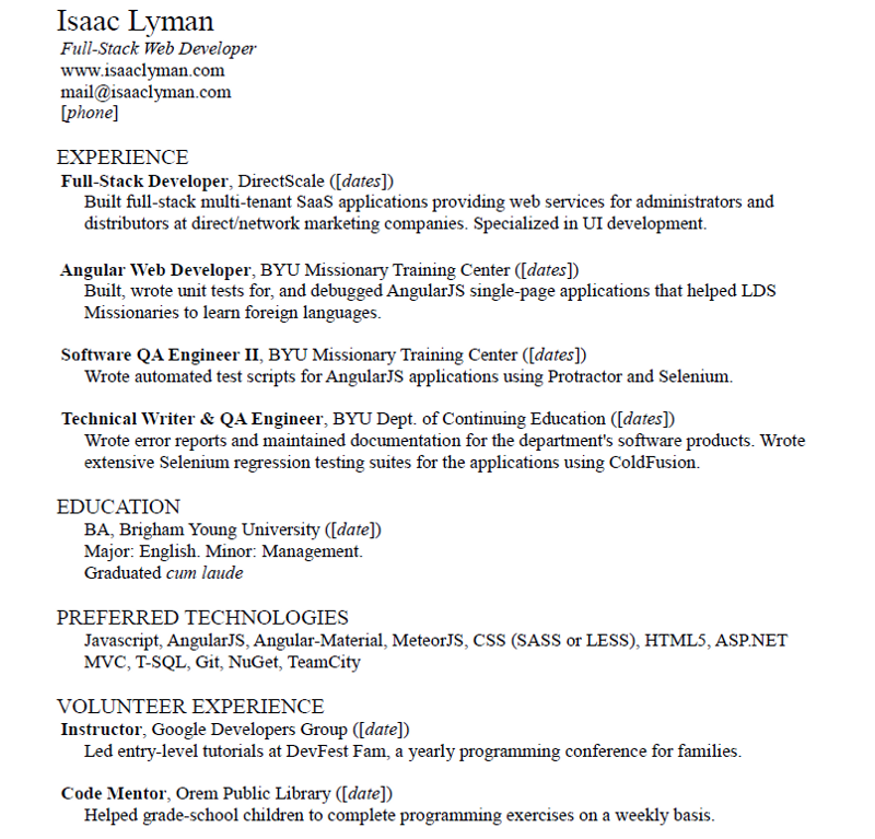 student - Angularjs Developer Resume