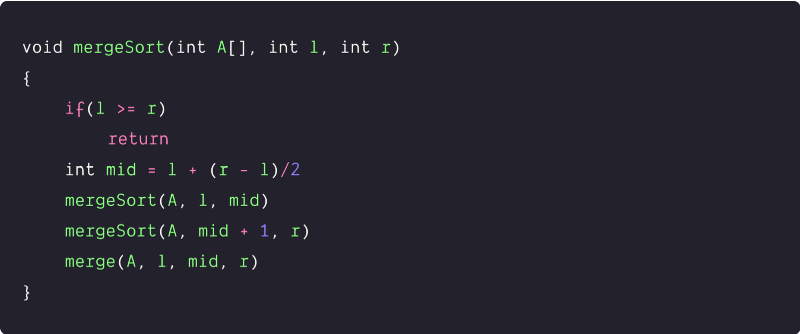 divide and conquer pseudocode of the merge sort