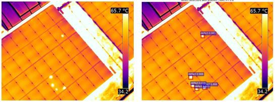 thermal images of solar panels