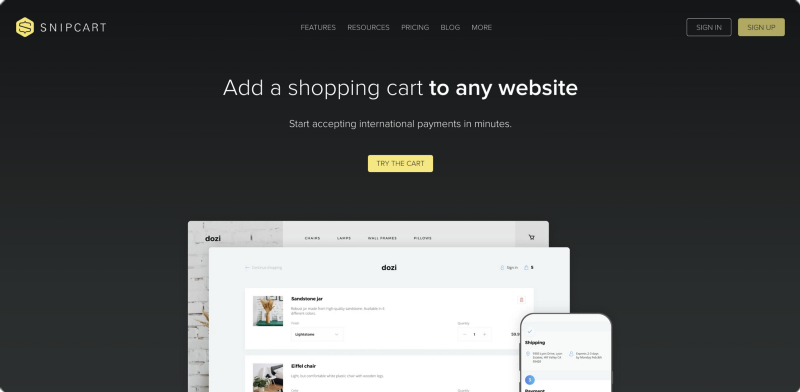 Snipcart for small business ecommerce