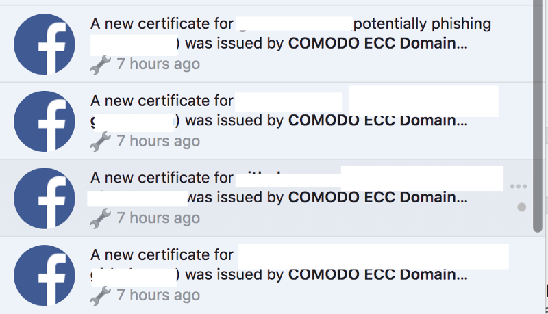 Typical notification from Facebook when new asset on the same crt is available.