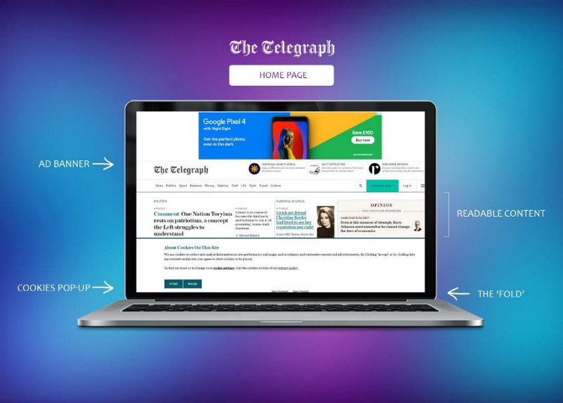 A screenshot of The Telegraph home page with identifying details of banner and element placement