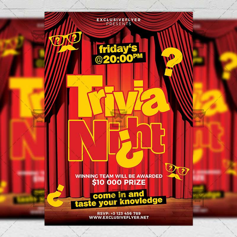 trivia night flyer community a5 template exclusive flyer medium