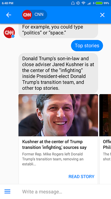 CNN News Chatbot selecting the top stories