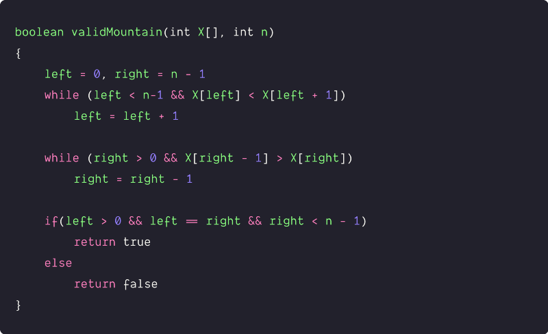 valid mountainarray pseudocode solution by traversing from both ends
