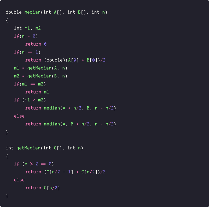 median of two sorted arrays of equal size using binary search pseudocode