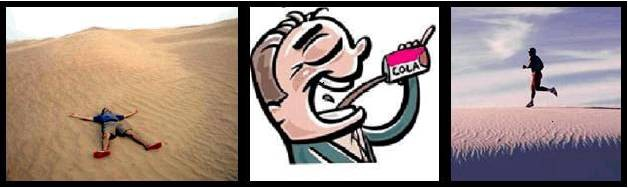 A comic strip showing man laying on ground on the left, drinking cola in the middle, and running on the right, which is opposite of what the order of graphics should be for right-to-left readers.