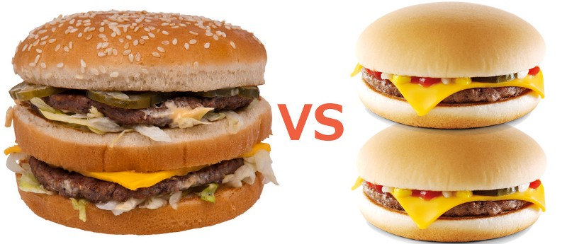 ... 79 Big Mac vs two £0.99 Cheese Burgers. Which one is a better deal