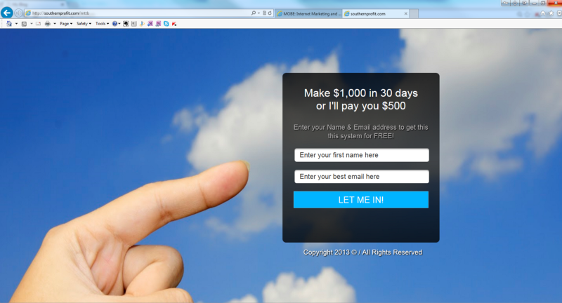 sky background with a hand pointing to a capture page dialogue box with the fields available to fill in