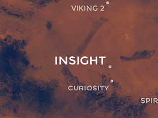 InSight's landing site in relation to previous Mars' missions