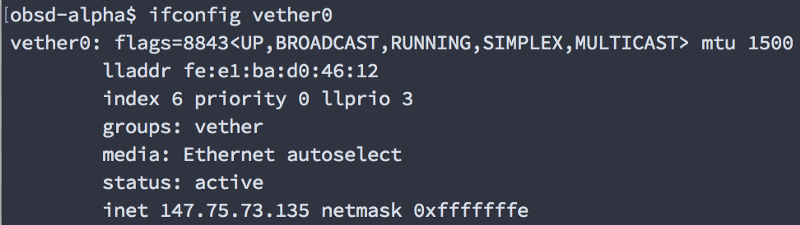 If you used a vether device you should see this output. Try not to fe:e1:ba:d about it, ok?