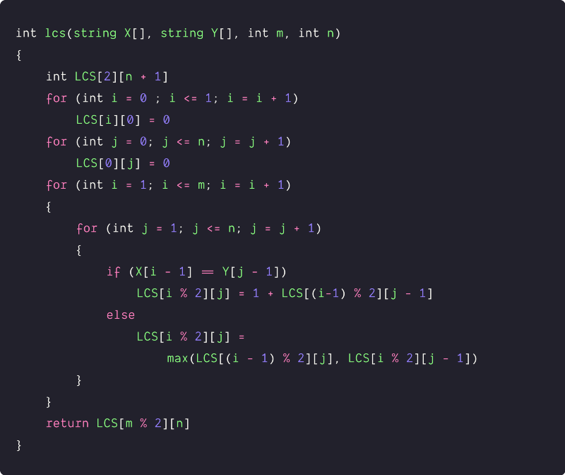 longest common subsequence space optimized solution pseudocode 1`