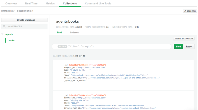 MongoDB collection preview