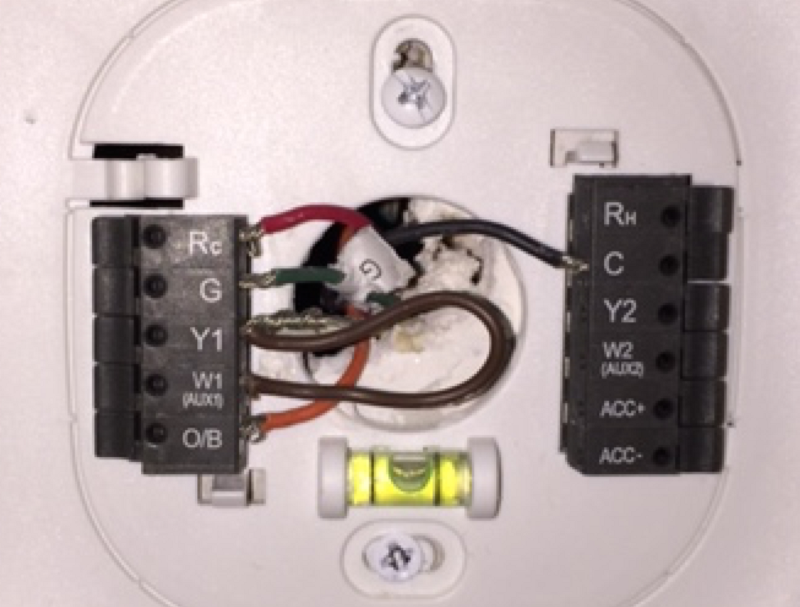 hacking the ecobee for wiring success andrew mcgrath medium the new ecobee3 wiring the brown ldquojumperrdquo i crafted is connected to the white wire although its hard to see here