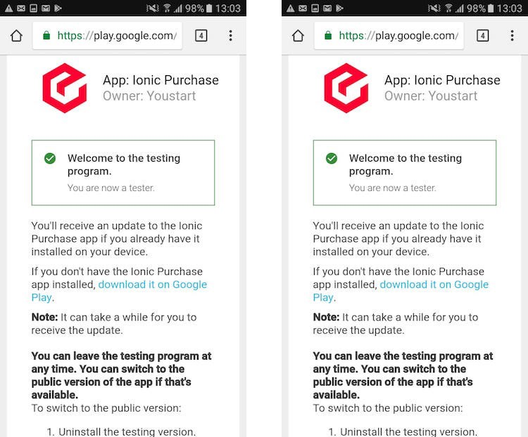 Internal testing opt in screen for Google Play testers