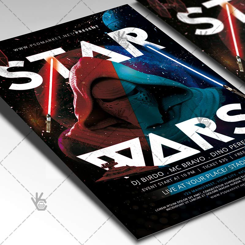 star wars party flyer club psd template psdmarket medium