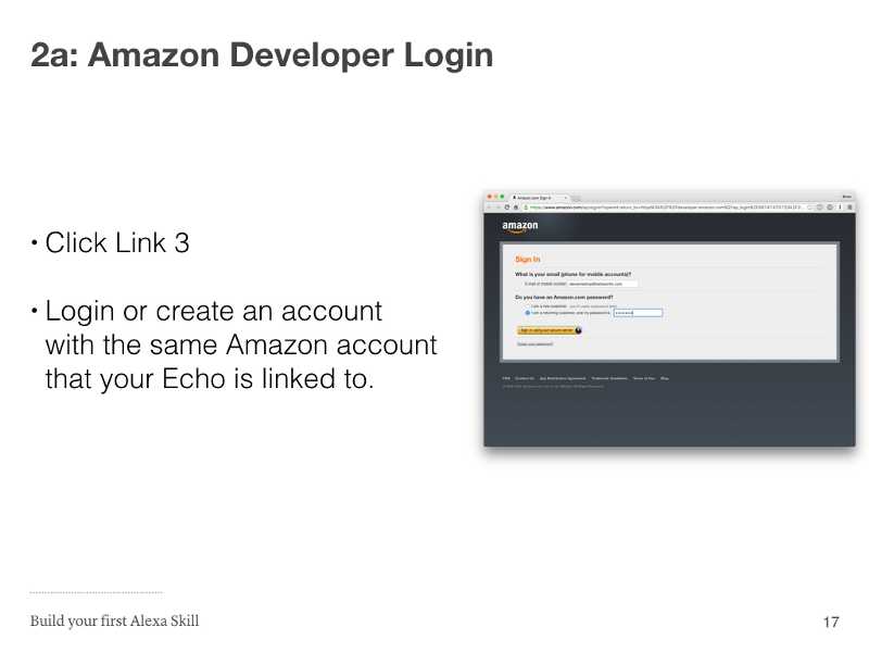 Step 2a: Amazon Developer Login